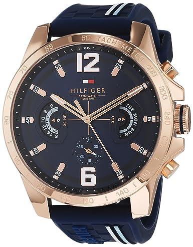 Tommy Hilfiger Reloj Multiesfera para Hombre de Cuarzo con Correa en Silicona 1791474: Amazon.es: Relojes