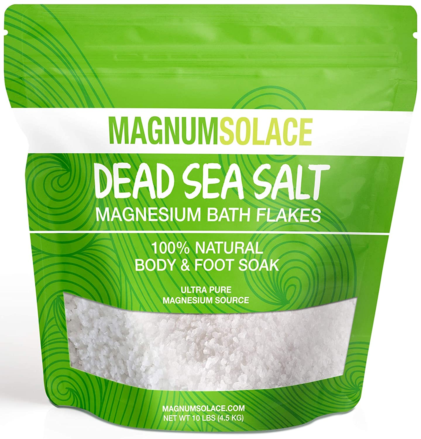 Magnesium Bath Flakes, Large 10 LBS Exceptional #1 Therapeutic Source for Body & Foot Soaks Magnum Solace