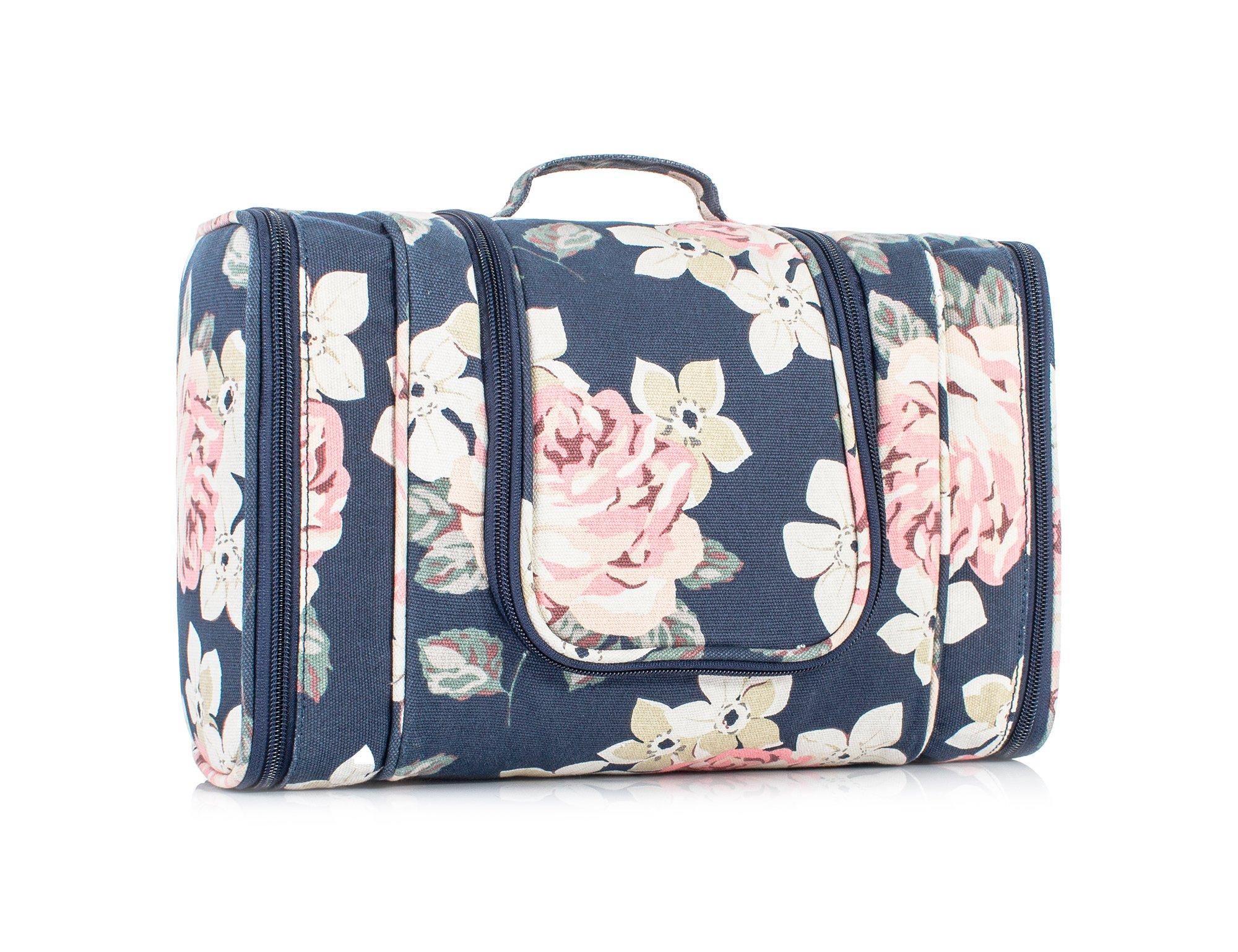Multifunctional Cosmetic Bag Toiletry Bag Bathroom Storage Women Travel Bag Hanging Organizer Bag by TOPERIN (Floral dark blue)