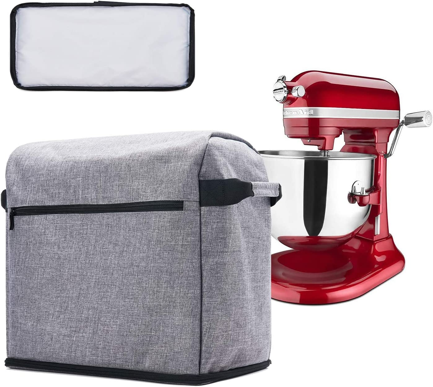 Gray Machine Washable BGD-DG Stand Mixer Cover with Removable Bottom Storage Bag with Zipper /& Open Pockets Compatible with 5-8 Quart KitchenAid Bowl Lift