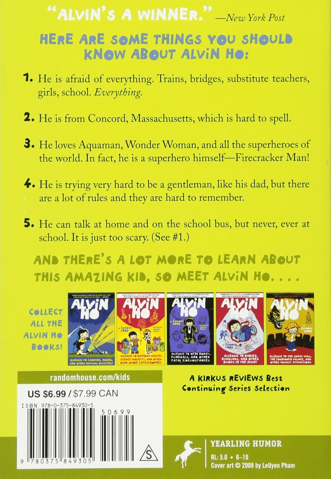 Amazon.com: Alvin Ho: Allergic to Girls, School, and Other Scary Things  (9780375849305): Lenore Look, LeUyen Pham: Books