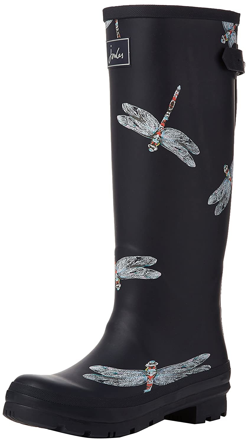 Joules Welly Print, Botas de Agua para Mujer Azul (Navy Dragonfly)