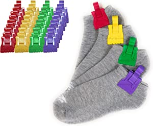 The Amazing Sock Clip Sock Holder, Rainbow Color Assorted 32 Clips, (8 Each of 4 Colors) Made in U.S.A.