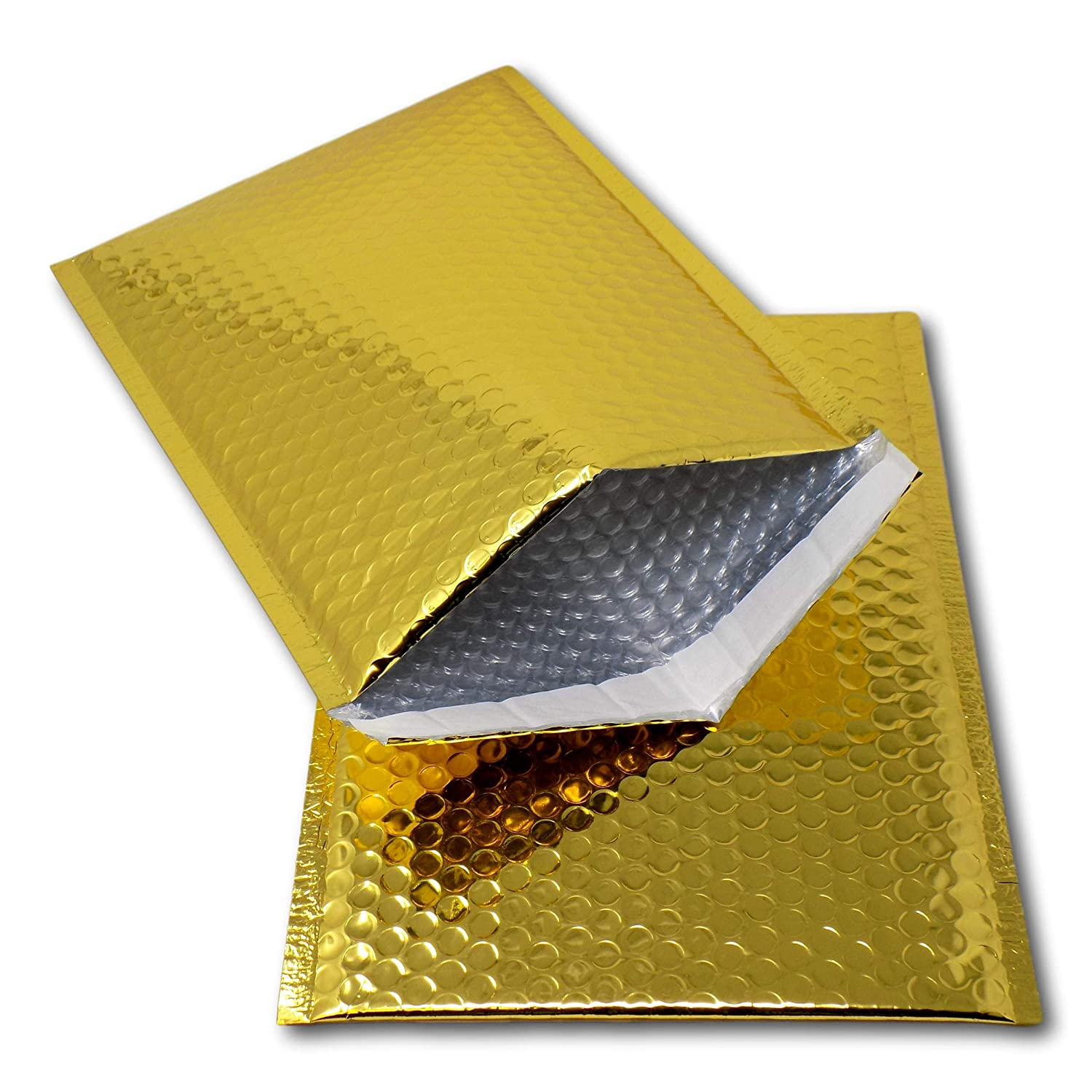 EPOSGEAR 10 Gold Shiny Metallic Foil Bubble Padded Bag Mailing Envelopes - Perfect for marketing, promotions or and alternative to gift wrap (A3 / C3-450mm x 320mm)