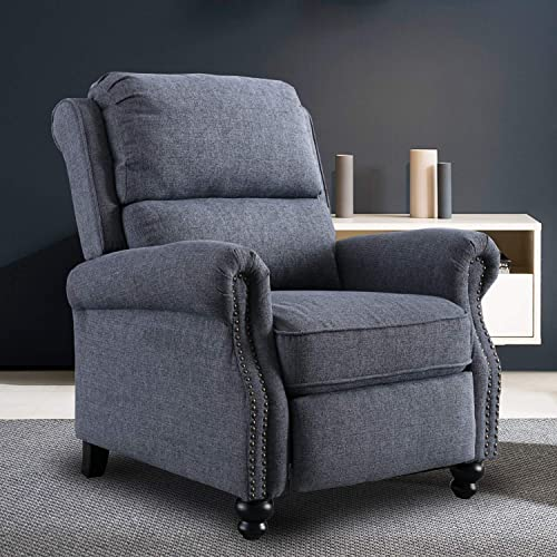 CANMOV Recliner Chair, Contemporary Arm Chair, Push Back Recliner with Rivet Decoration, Navy