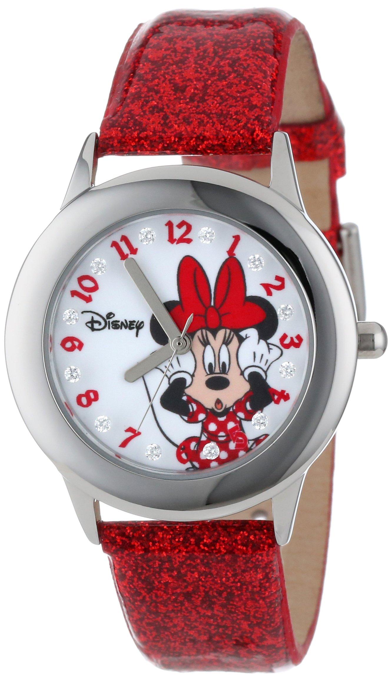 Disney Kids' W000914 ''Tween Minnie Glitz'' Stainless Steel Watch with Red Band