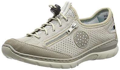 Rieker L3266 Women Low-Top, Sneakers Basses Femme - Gris - Grau (vapor/ice/silverflower/beige/40), 37