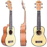 FZONE 21 Inch Spruce Top Mahogany Soprano Ukulele with Aquila Strings, Tortoise Style Binding, OX Bone Saddle