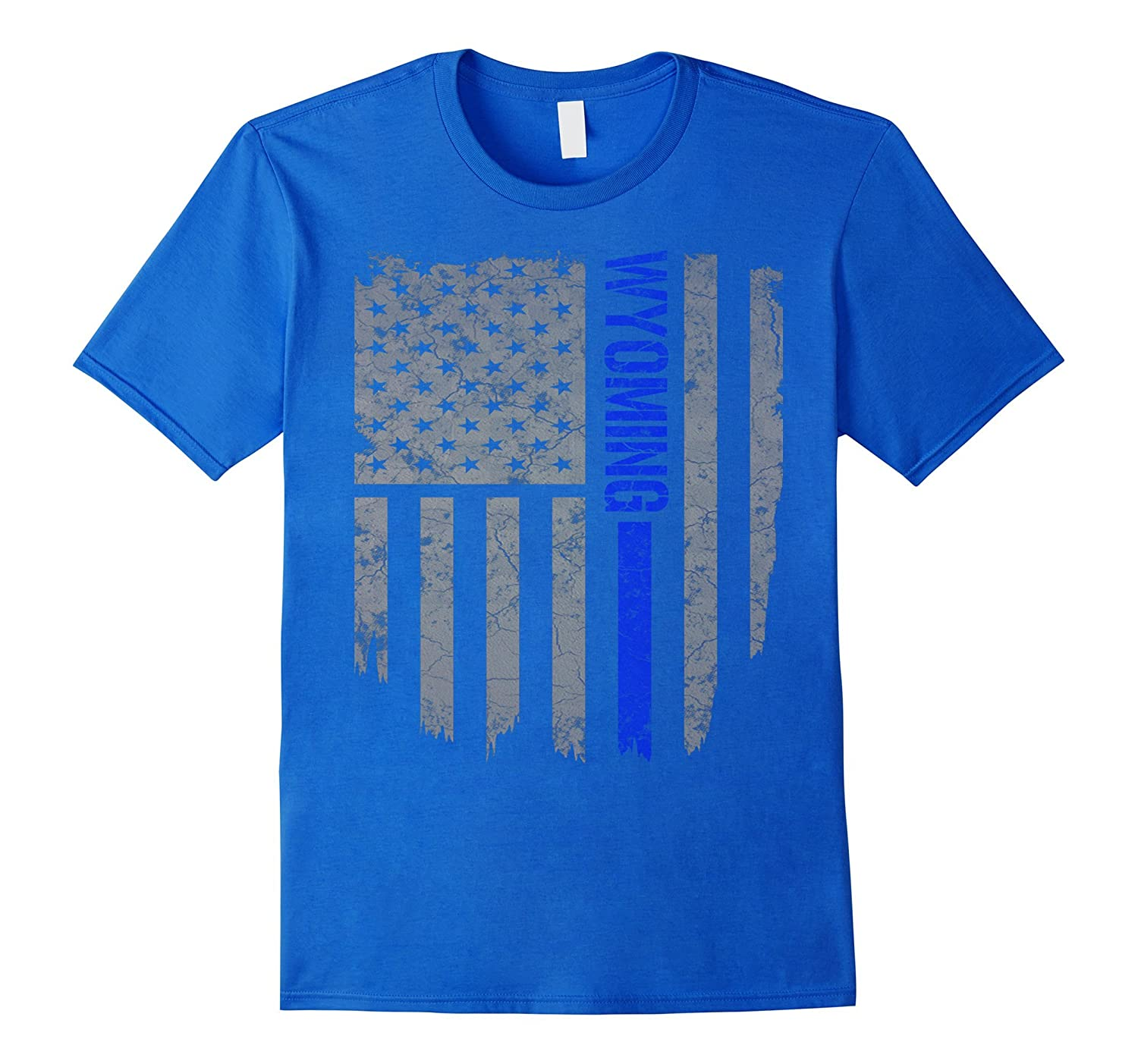 Wyoming Thin Blue Line American Flag T-shirt-Vaci