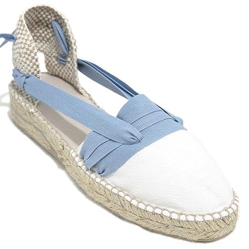Espardenya.cat Alpargatas Hechas a Mano Tradicionales de Media Cuña Diseño Tres Vetas Color Azul: Amazon.es: Zapatos y complementos