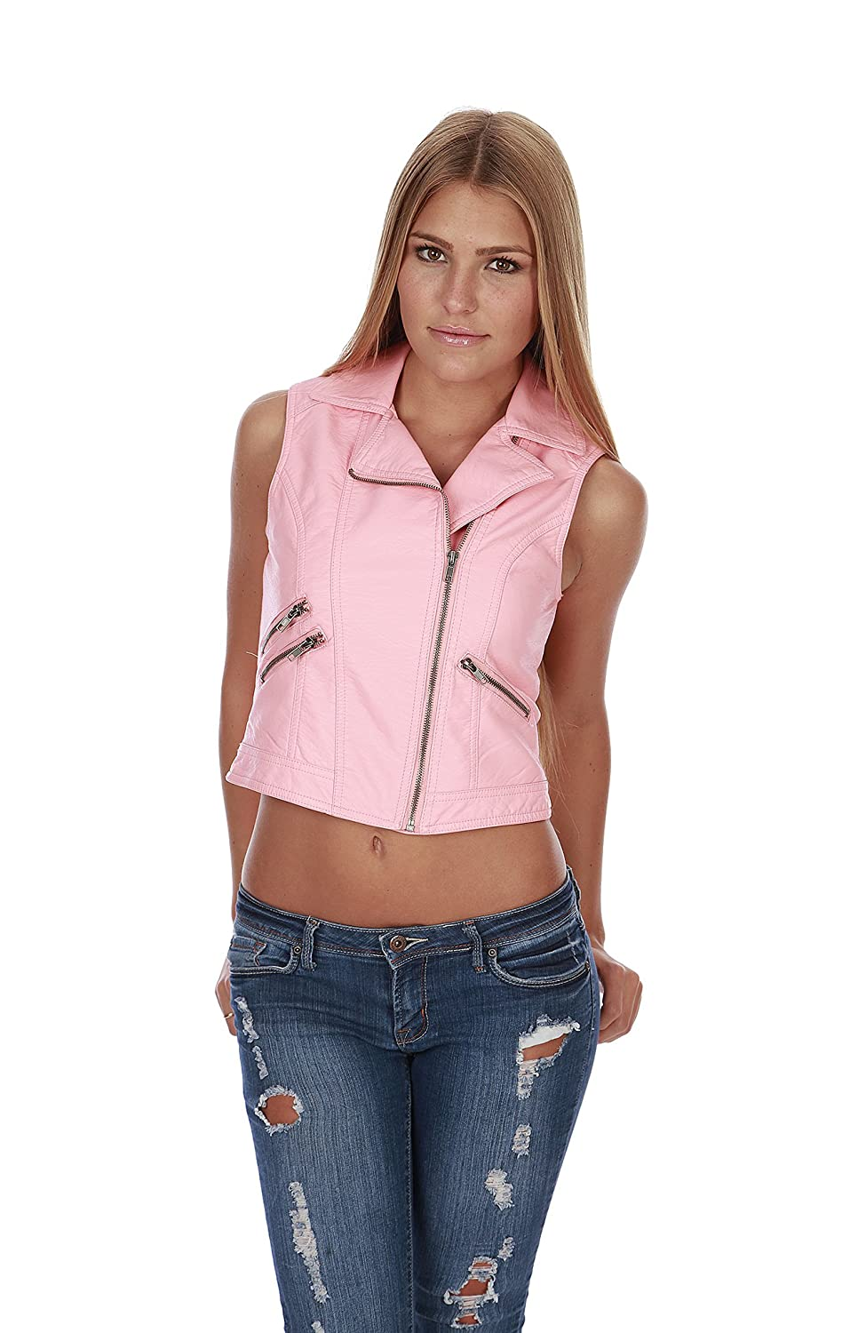 Hollywood Star Fashion Women's Leather Jacket Zip Zipper Front Vest With Collar J650