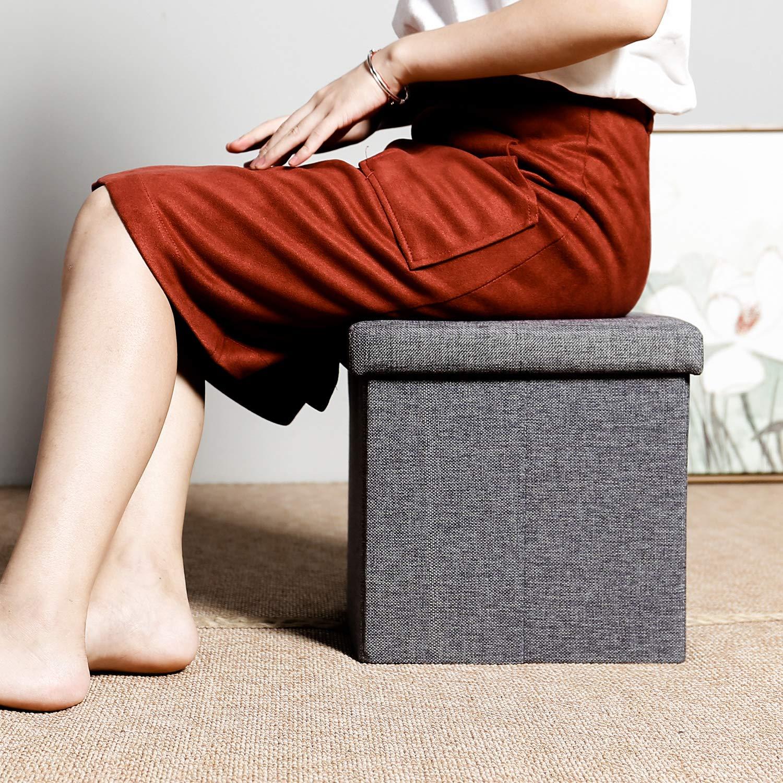 Bonlife Pouf poggiapiedi Cassapanca Usato per Il corridoio Sgabello Pieghevole Tessuto Come Lino,Giallo 32 x 32 x 32 cm
