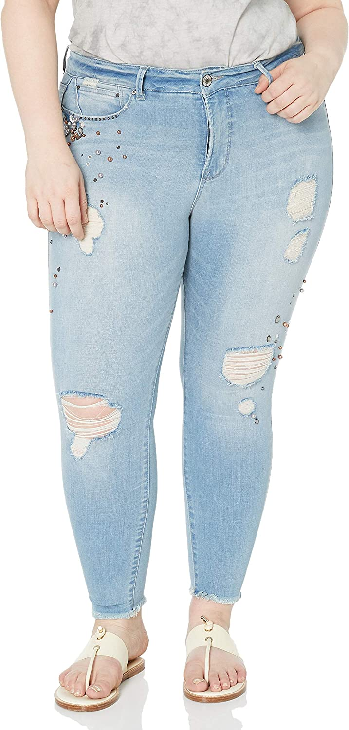 Rebel Wilson X Angels Womens Plus Size The Pin Up Mid Rise Super Skinny Jean