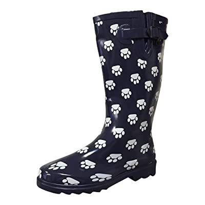 PSW Womens MSTKH Rain Boots, Navy Paws, 7 M US | Rain Footwear