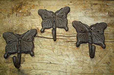 Amazon.com: 3 Cast Iron Antique Style BUTTERFLY Coat Hooks Hat Hook ...