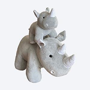 Rhino Stuffed Animals Oh So Soft Plush Mother Baby Rhinos Rhinoceros Toy Set