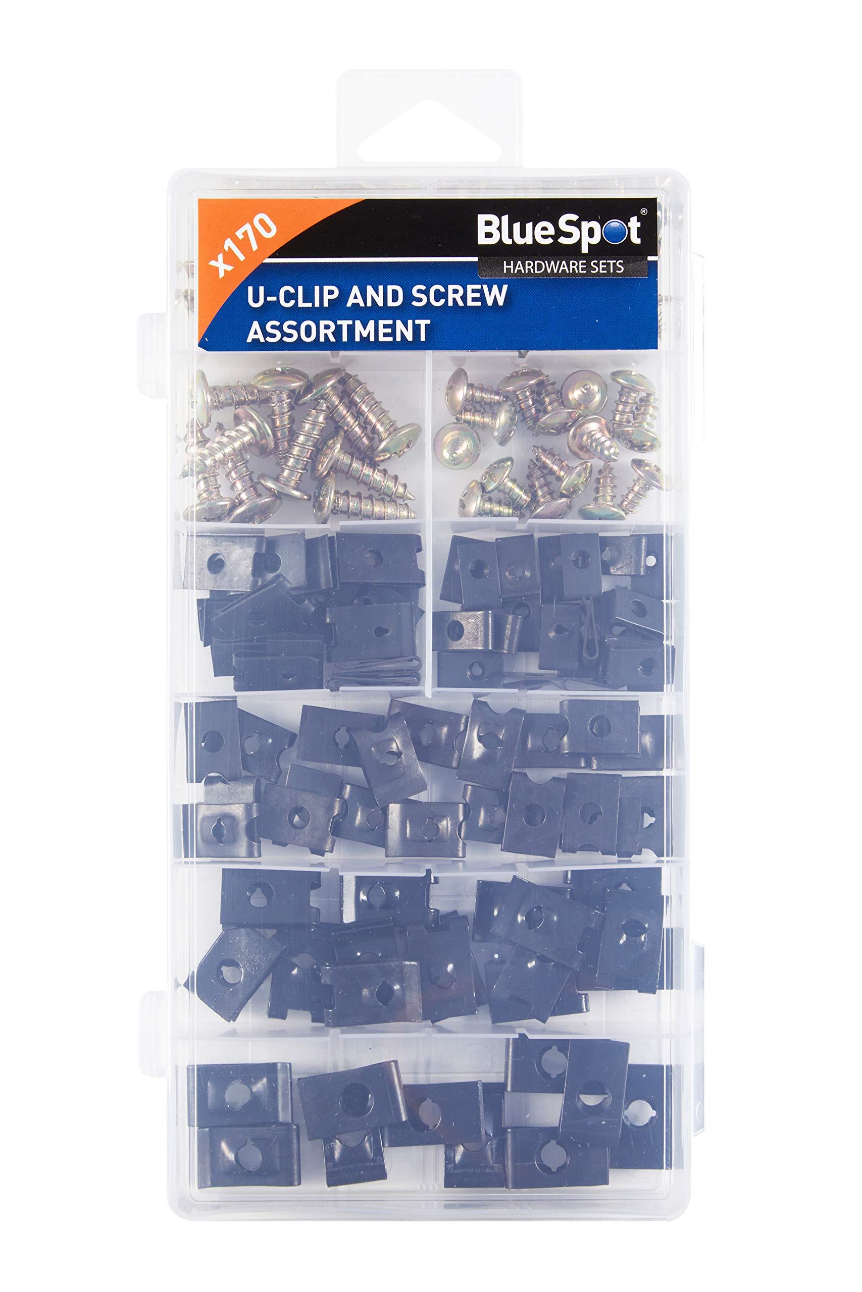 Blue Spot 40532 170pce U Clip and Screw Assortment, Set of 170 Pieces