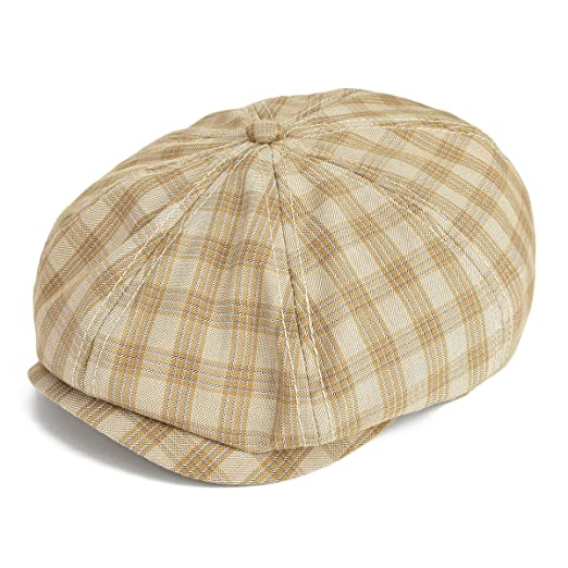 dfa0b3f4a2e1 VOBOOM Plaid Cotton 8 pannnel Newsboy Caps Ivy Summer Hat Cabbie Gatsby Hat  MZ103 (S