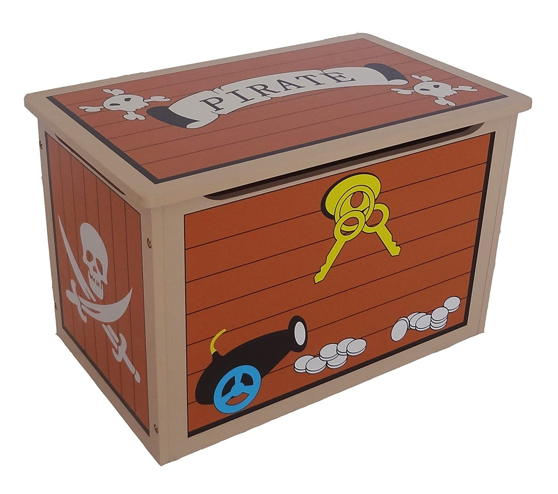 Kiddi Style Children's Pirate Wooden Treasure Chest Toy Box Bebe Style PRF1TC-Blue