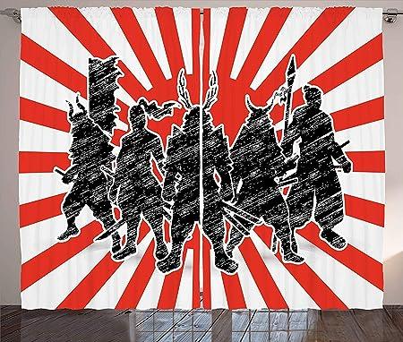 MLNHY Japanese Curtains, Group of Samurai Ninja Posing and ...
