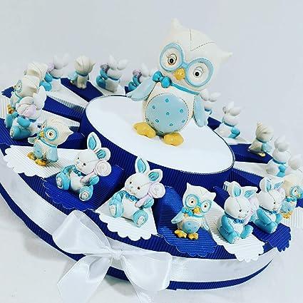 Tarta Decoración Bautizo Nacimiento Osito con corazón estrella sombrero  azules para niño cumpleaños 322f58be895