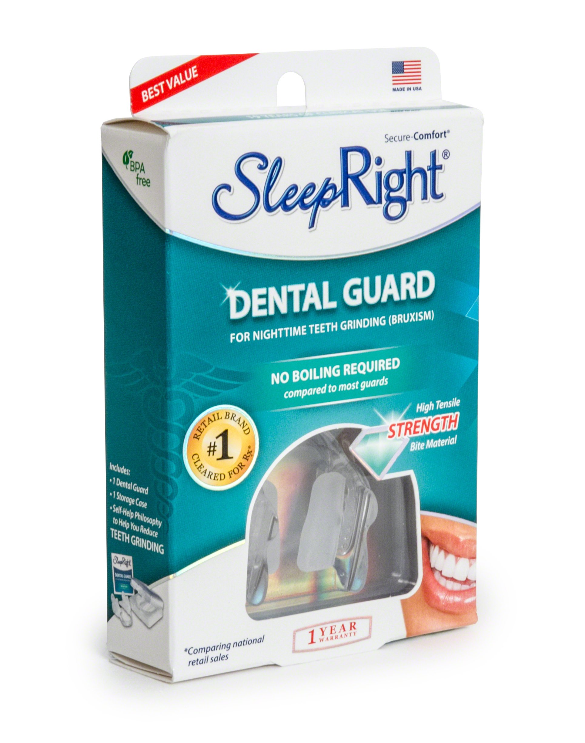SleepRight Secure-Comfort Dental Guard – Mouth Guard To Prevent Teeth Grinding – SleepRight No Boil Dental Guard by SleepRight (Image #5)