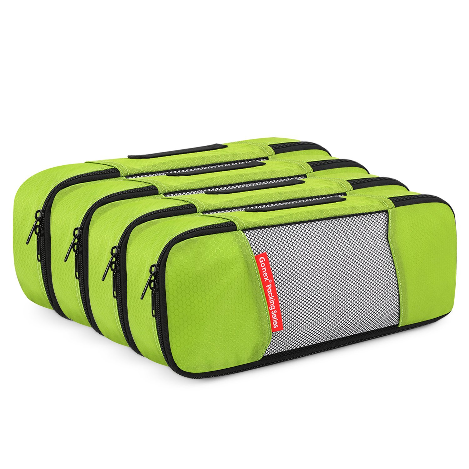 Gonex Packing Cubes Travel Organizer Cubes for Luggage 4 Slim Green