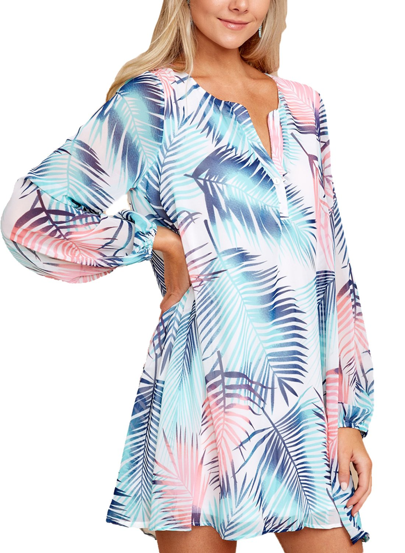 Asvivid Womens Bohemian V Neck Floral Print Long Sleeve Beach Cover Ups Chifon Mini Dress L Floral1