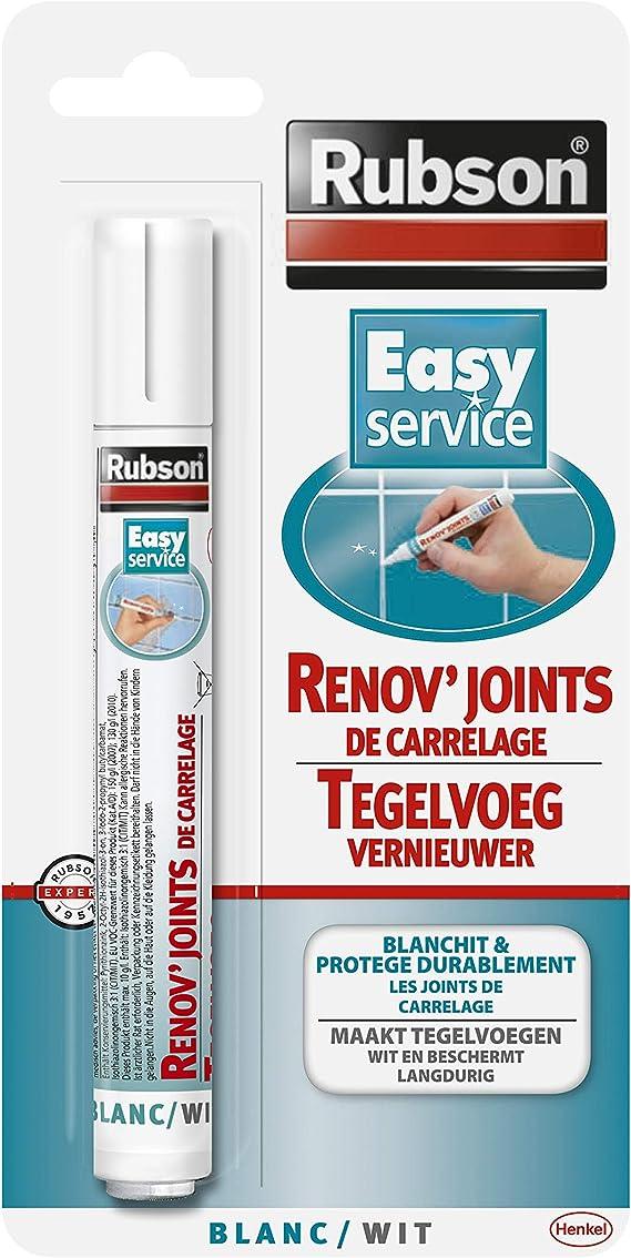 Rubson Easy Service Rénov'Joints de carrelage, Stylo blanchissant pour Joints de carrelage, facile à appliquer, blanchit et corrige les défauts joint