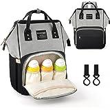 Vemingo Baby Nappy Changing Backpack with Pram Hooks | Diaper Bag Rucksack Nappy Organiser Maternity Bag for Girls Boys Women Men Grey-Black