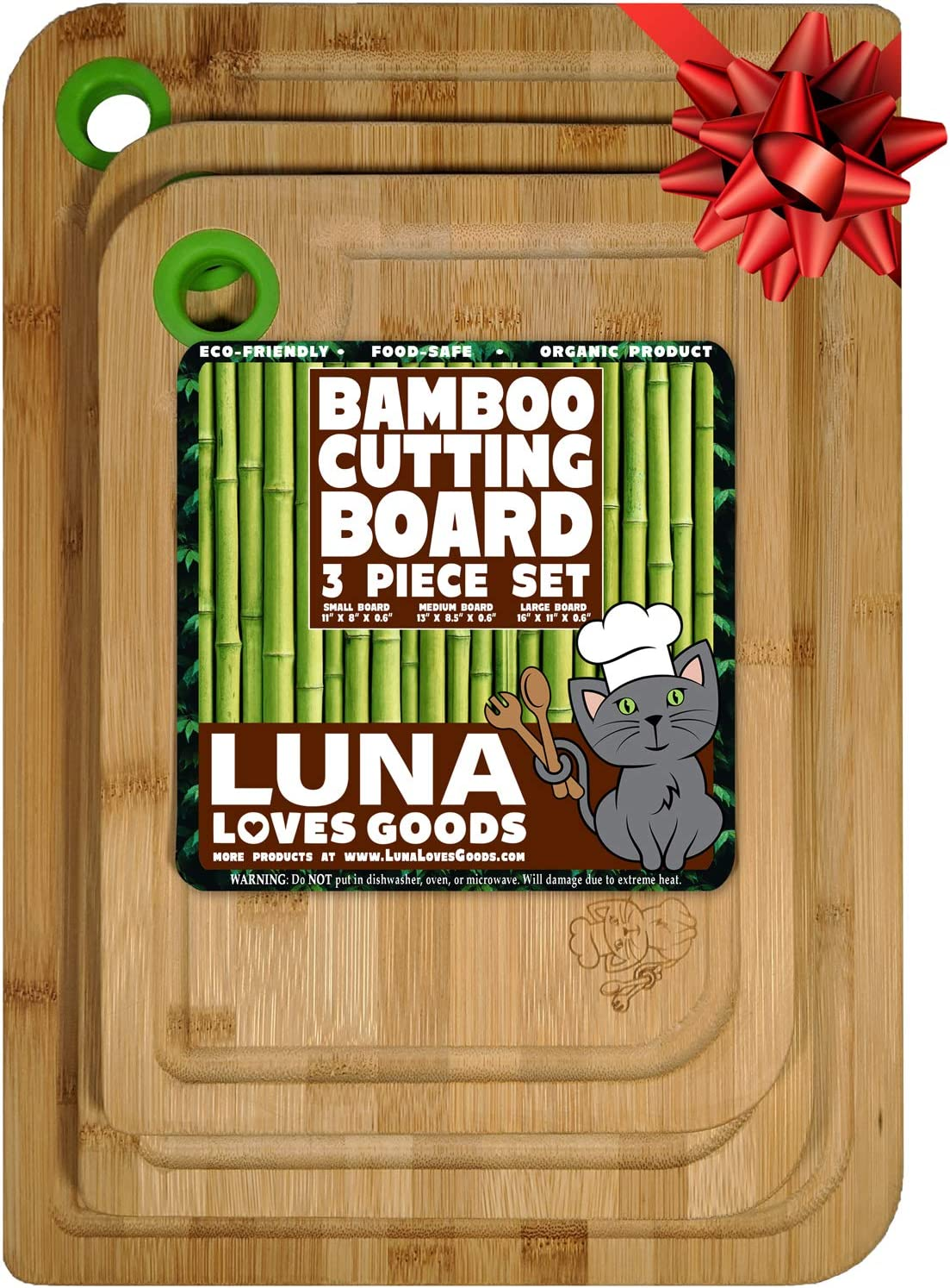 Organic Bamboo Cutting Board Set of 3 with Easy Catch Juice Groove - 100% Natural Bamboo Wooden Boards for Kitchen - Durable Thick Wood Chopping Block - Double Sided Serving Tray