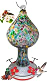 Grateful Gnome - Hummingbird Feeder - Hand Blown Glass - Tall Speckled Mushroom - 26 Fluid Ounces