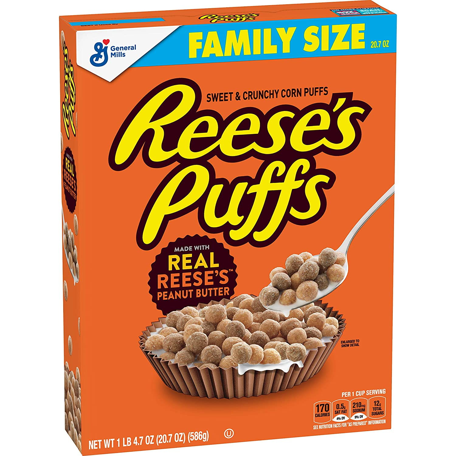 Reese's Puffs Cereal, Chocolate Peanut Butter, with Whole Grain, 20.7 oz