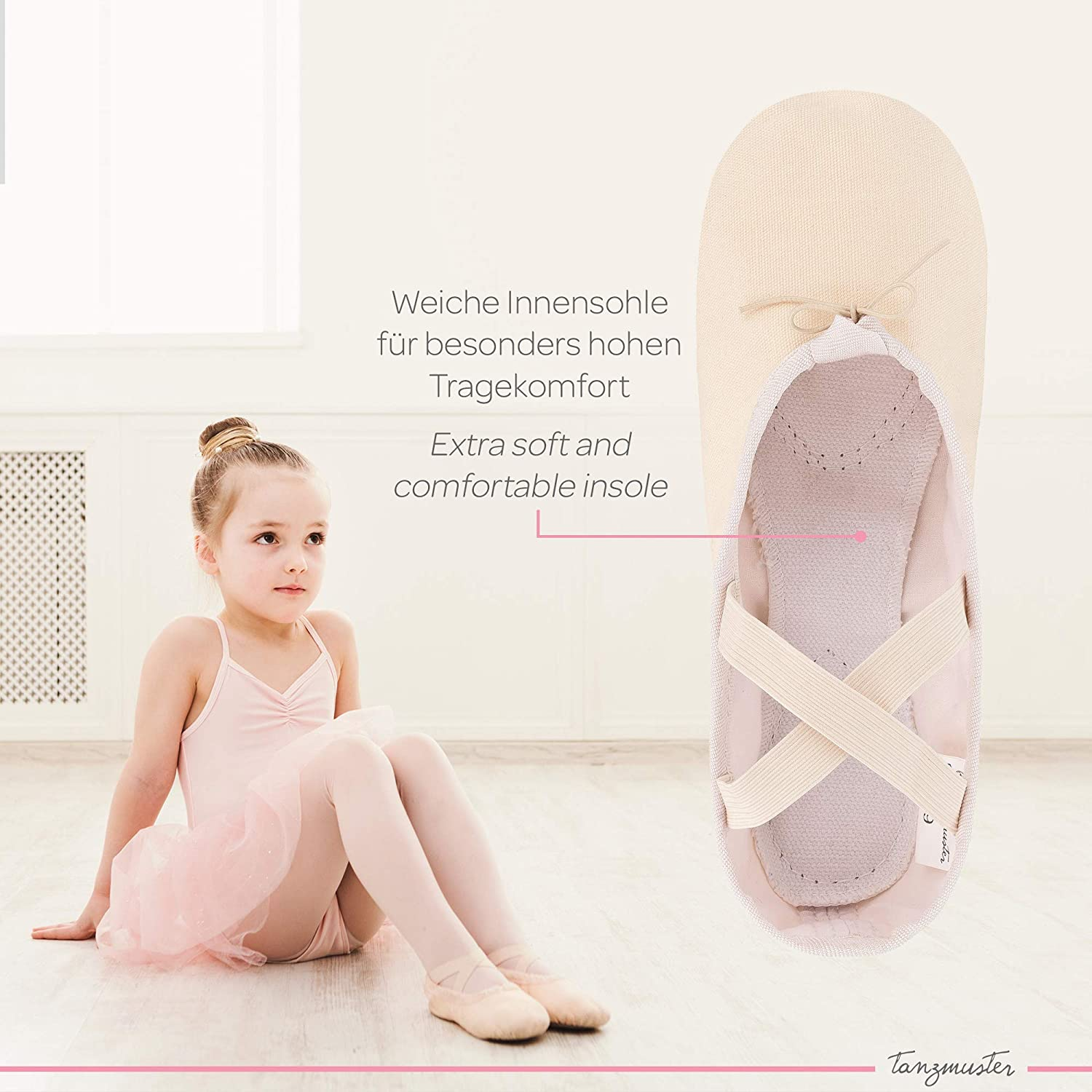 Cotton Lining 12 UK Adult tanzmuster Canvas Ballet Shoes Charlie Sizes 5 UK Child Split Leather Sole Black and Sand-Colored Soft and Durable Material White Pink