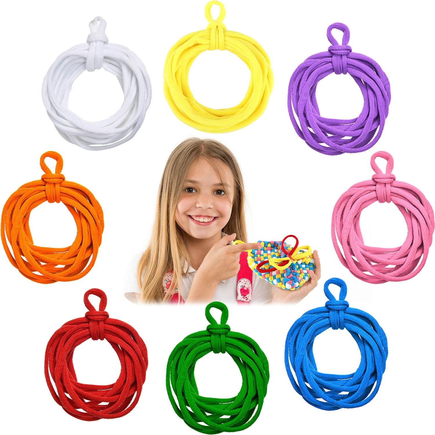 192 Pieces Loom Potholder Loops Refill 7 Inch Weaving Loom Loops Weaving Craft Loops with Multiple Colors Weaving Craft for DIY Crafts Supplies