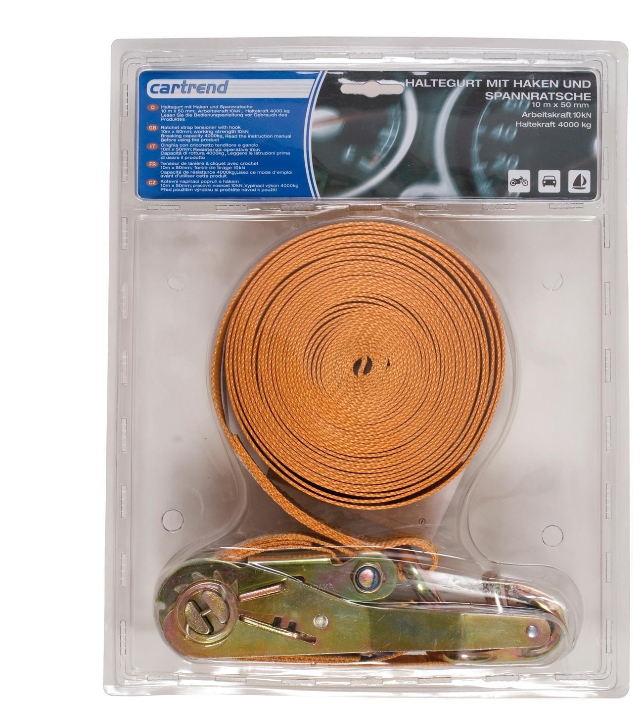 Cartrend 70150 Correa de amarre Set Deluxe  50 mm x 7 metros 2 Unidades con tensores y ganchos