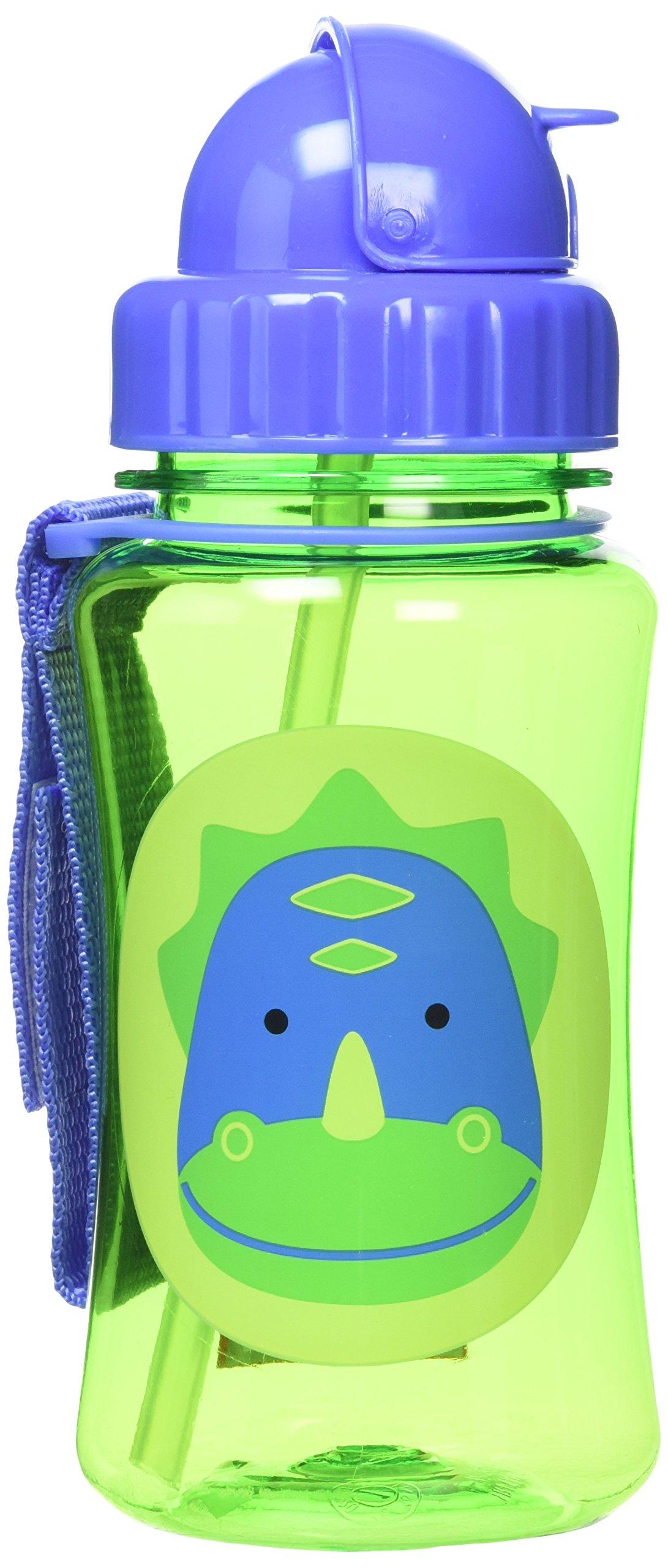 Skip Hop Zoo Straw Bottle, Holds 12 oz, Dakota Dinosaur