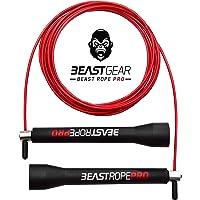 Beast Gear Beast Rope Pro - Corde à Sauter de Vitesse Professionnelle - Fitness - Crossfit - Boxe - MMA - HIIT - Cardio Interval Training et Double Unders