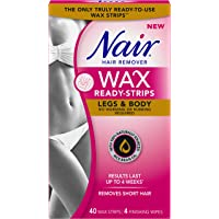 Nair Wax Ready Strips for Legs & Body with Rice Bran Oil, 40 Strips + 4 Finishing Wipes