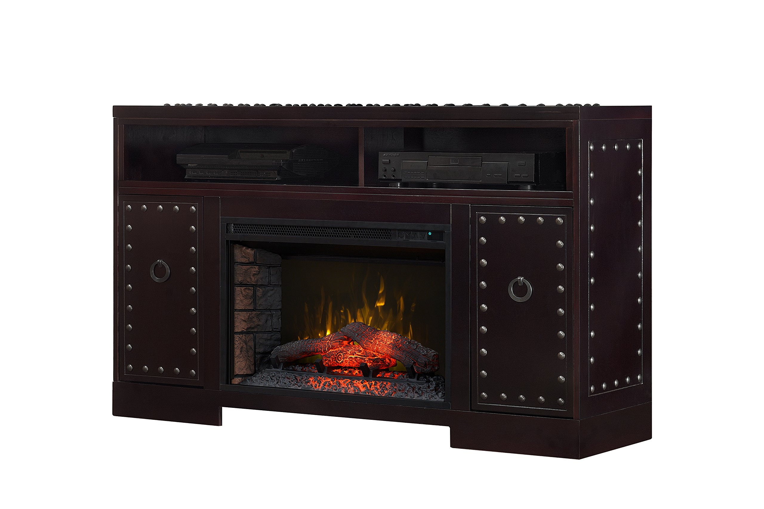 BoldFlame Fornax 53'' Media Console Electric Fireplace with Decorative Nailhead Trim and Remote Control, Rich Espresso