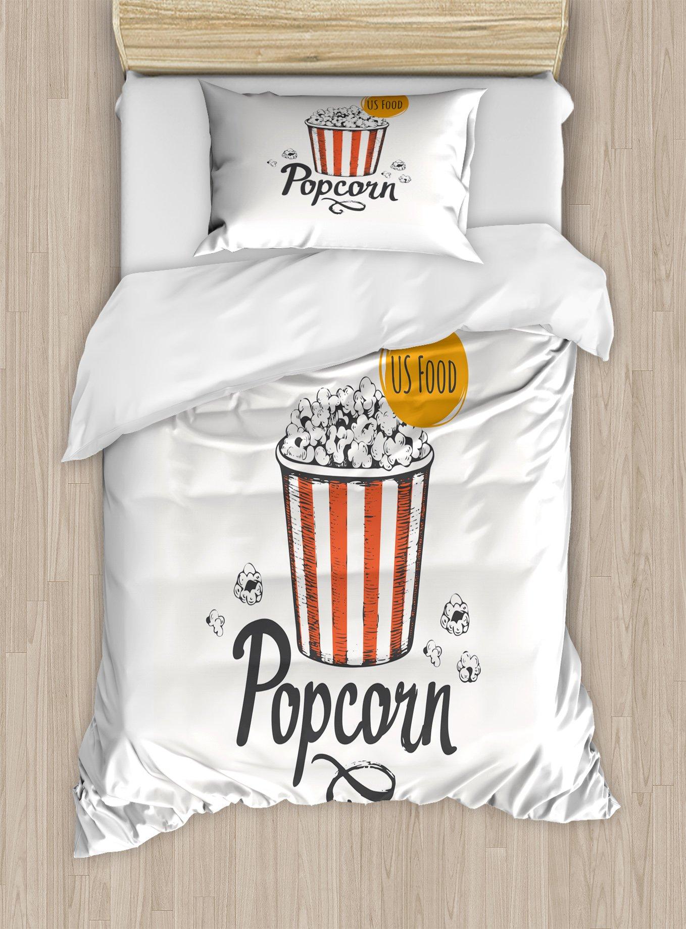Ambesonne Movie Theater Twin Size Duvet Cover Set, Sketch Design Cinema Snack US Fast Food Pop Corn Art, Decorative 2 Piece Bedding Set with 1 Pillow Sham, Charcoal Grey Vermilion Marigold