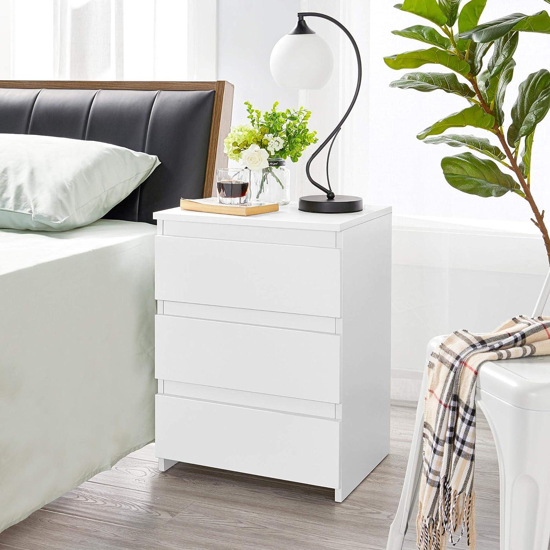 Nachtkommode mit 3 Schubladen Yaheetech Nachttische 2er Set Nachtschrank aus Holz Schubladekommode Wei/ß 45 x 35 x 60,5 cm