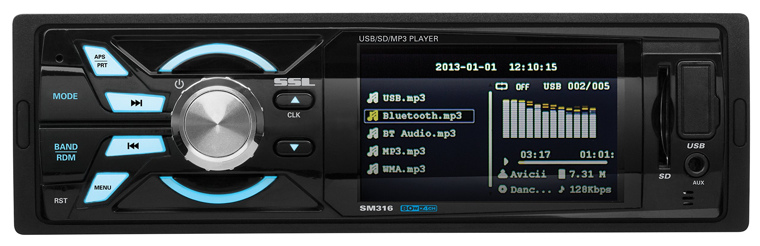 SOUND STORM SM316 Single-DIN 3.2 inch Screen MECH-LESS Multimedia Player (no CD or DVD), Receiver, Wireless Remote