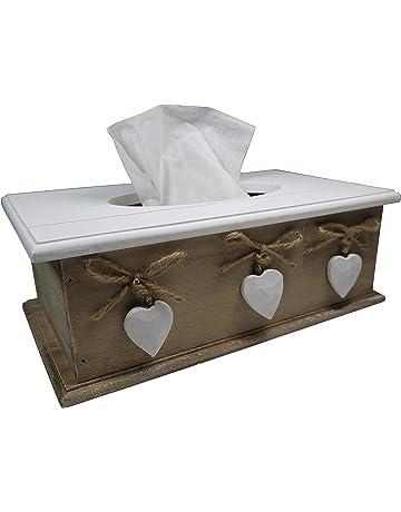 Khevga caja de pañuelos de madera en estilo rústico