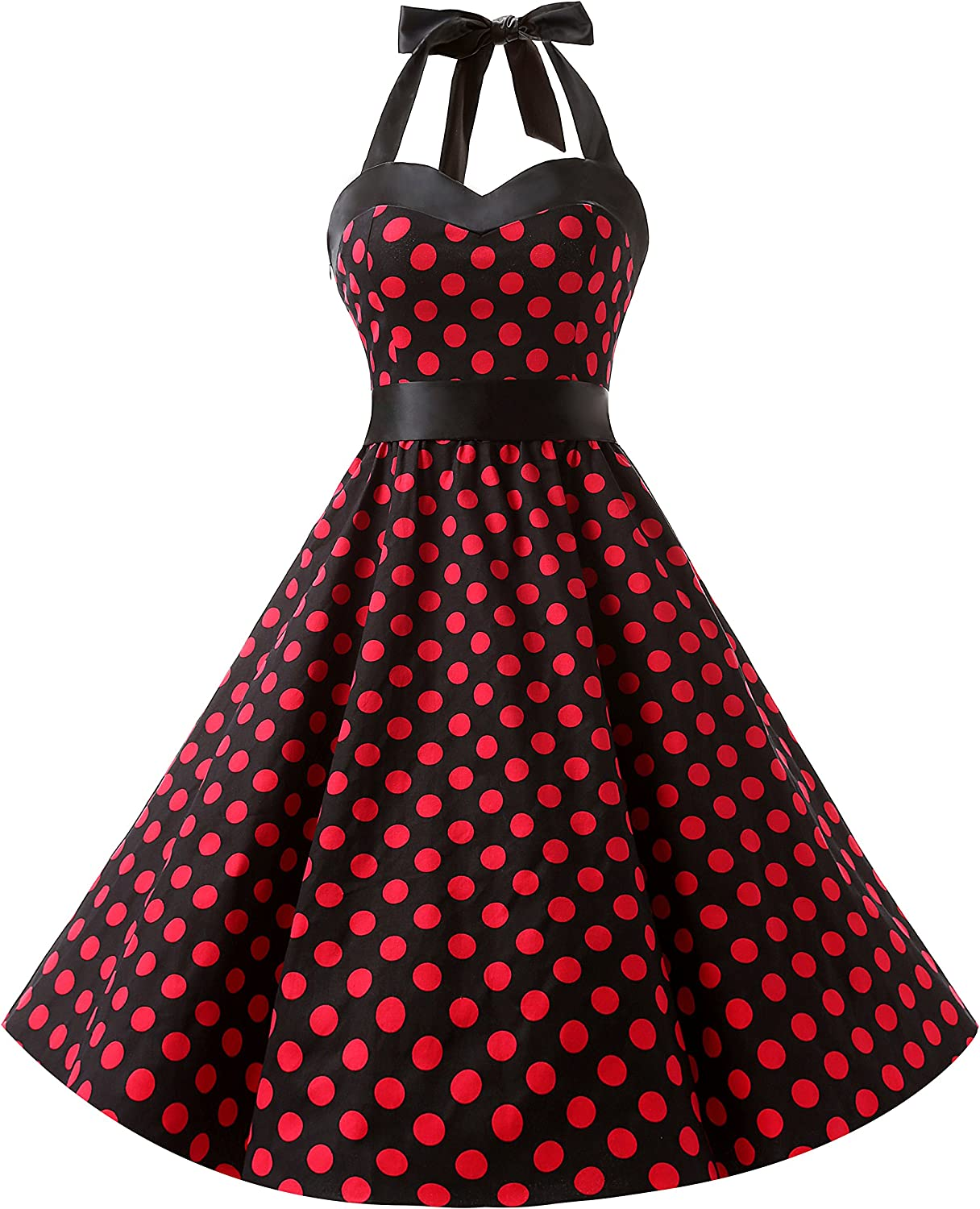 TALLA XS. Dresstells® Halter 50s Rockabilly Polka Dots Audrey Dress Retro Cocktail Dress Black Red Dot XS