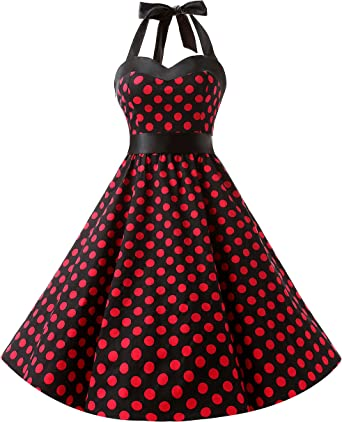 TALLA S. DRESSTELLS® Halter 50s Rockabilly Polka Dots Audrey Dress Retro Cocktail Dress Black Red Dot