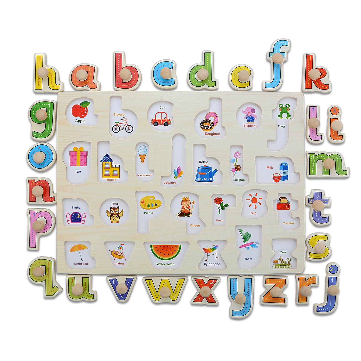 Moonvinn Preschool Wooden Alphabet Puzzle Board (abc) Letters Jigsaw Puzzle, Early Educational Toy for Toddlers/Kids/Children