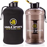 Jungle Sports Water Bottle & FREE Insulated Protective Case   1.3 Litre & 2.2 Litre Capacity with Handle   Safe & BPA Free Plastic   Durable Jug for Gym, Training, Hiking, Travel, Office & School