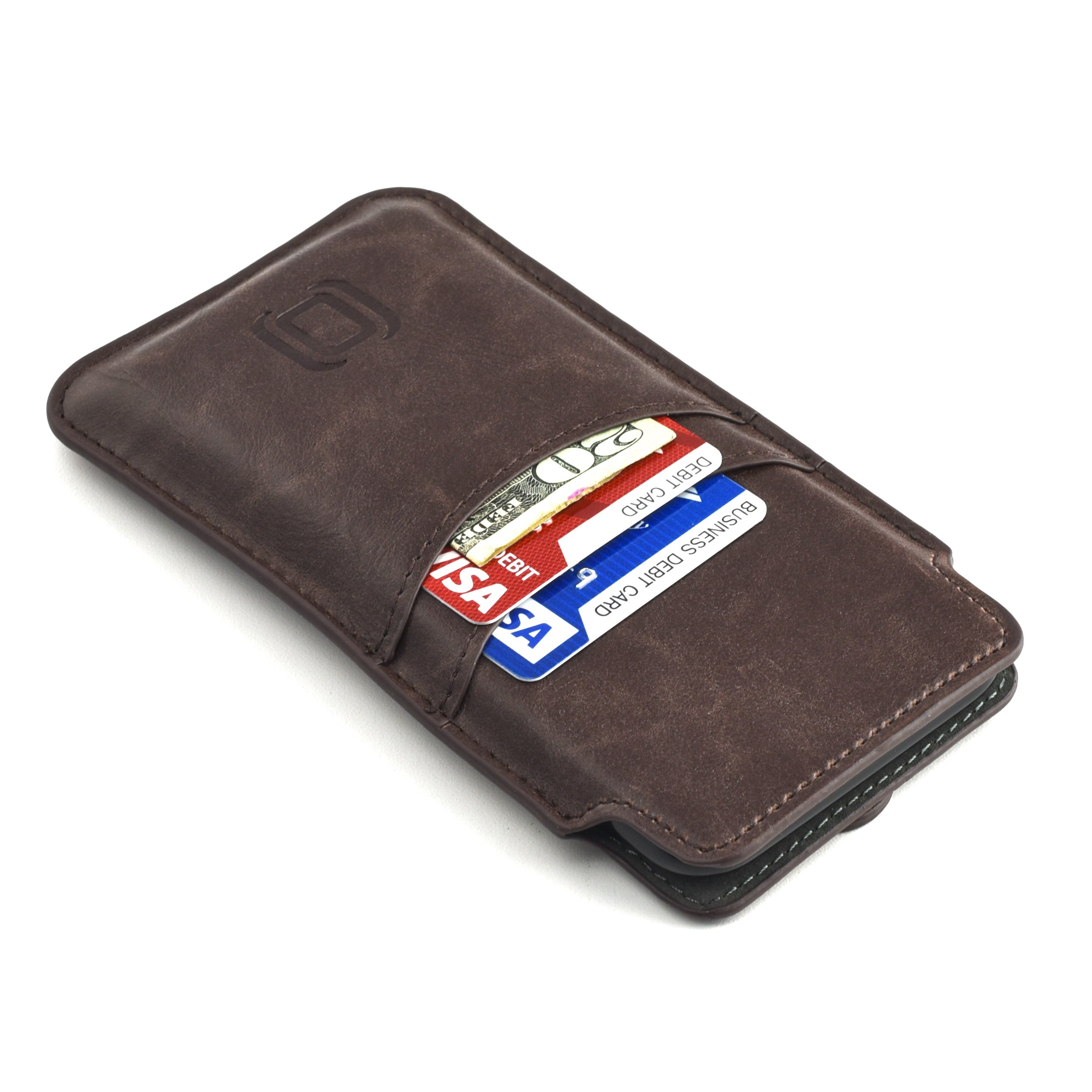 Dockem Provincial Wallet Sleeve for iPhone X; Ultra Slim Vintage Synthetic Leather Cover with 2 Card Holder Slots; Professional Executive Pouch Case [Brown]