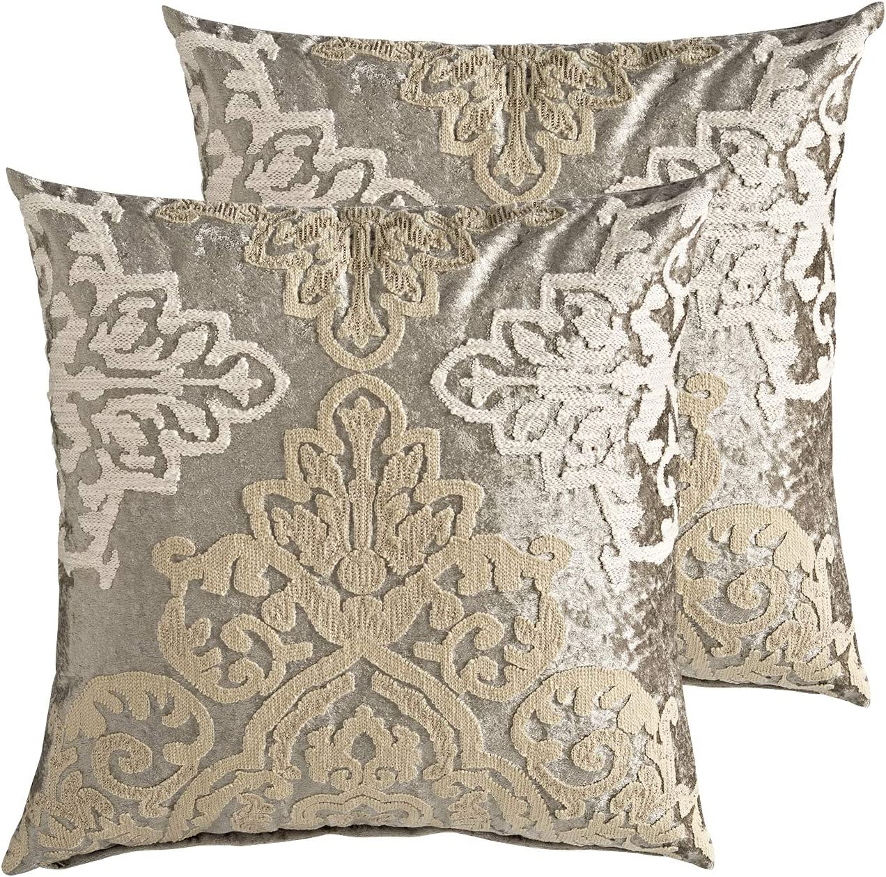 MOTINI Velvet Embroidered Throw Pillow Covers Grey and Beige with Champagne Gold Accent Damask Floral Luxury Boho Square Decorative Cushion Covers Pillow Cases for Sofa Couch Bed Chair,18x18, 2 Pack